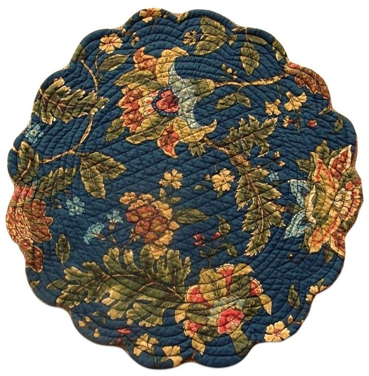 "Unique and Custom {13' x 19' Inch} Single Pack of Round ""Non-Slip Grip Texture"" Large Reversible Table Placemat Made of Washable 100% Cotton w/ Country Nature Quilted Design [Colorful Blue and Green] ** Wow! I love this. Check it out now! : Food Service Equipment Supplies"