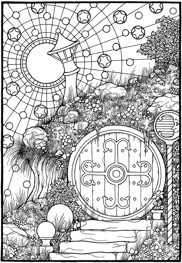 hobbit door from the coloring book equinox - Coloring Pages Dragons Fairies