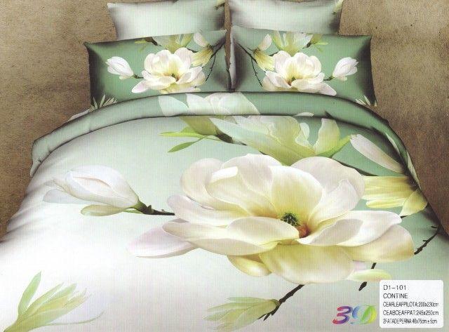 AlyShop: Lenjerie pentru pat dublu din bumbac satinat verde cu magnolia