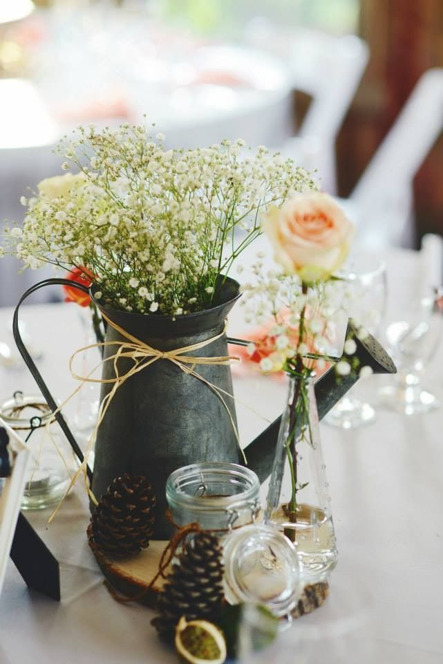 baby's breath centerpiece watering can - Google Search