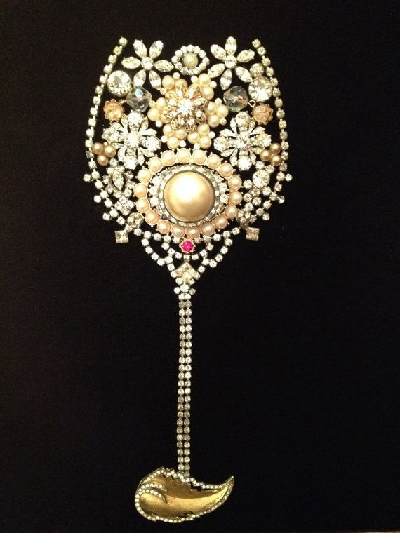Framed Vintage Jewelry Wine Glass 16x16 by KajaVintageCreations