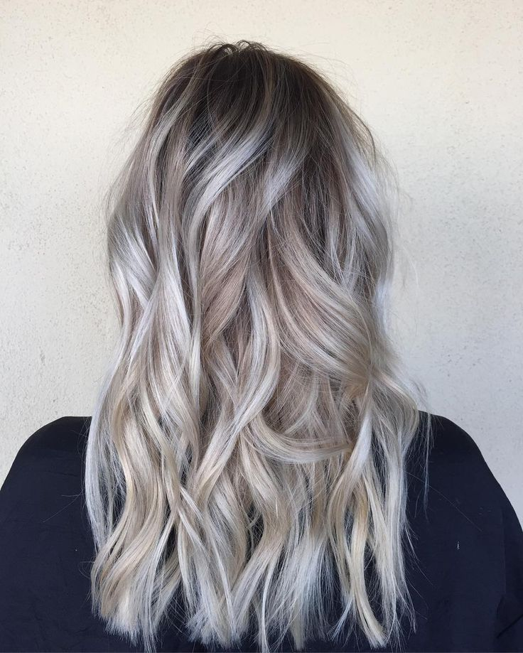 Pictures Od Dark Hair With Silver Platinum Highlights | Dark Brown ...