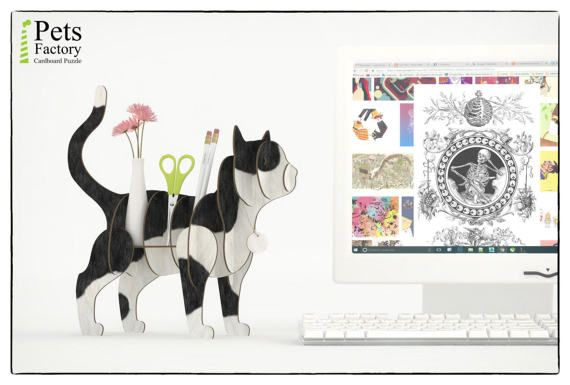 These is a 3D puzzle, a fun DIY Kit – Laser cut cardboard CAT BLACK AND WHITE finished. Ready for shipping  A great pastime for you, your kids and friends. Have fun assembling it and then use it as a shelf. This wonderful element of home or office decor will adorn your room. Perfect for shelf or as a gift!  The CAT BLACK AND WHITE pieces are quick and easy to assemble, laser-cut for precision fit using slotted construction. Our cardboard is superior to traditional ones due to the fact that…