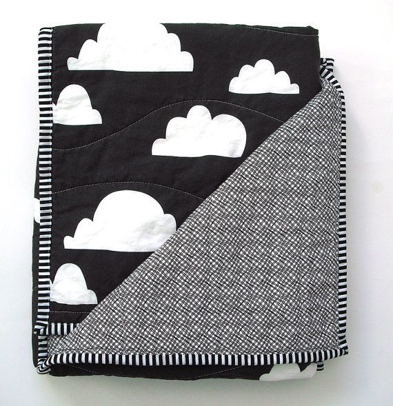 Modern Baby Quilt in Black and White Cloud Print by NotSewStrange