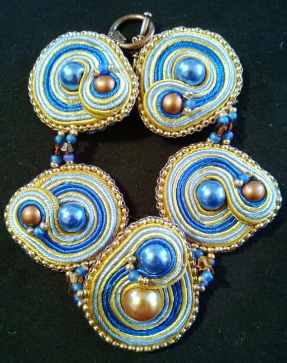 Clever Ravenclaw Handsitched Soutache Bracelet by WickedLittleShop, $40.00