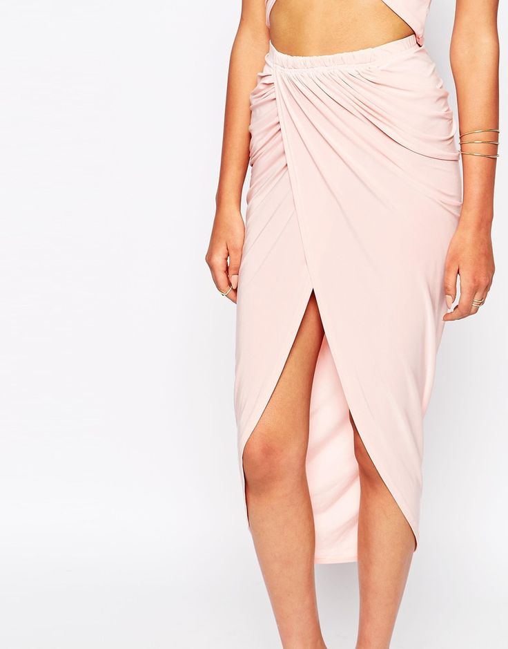 $40. ASOS Club L Ruched Pencil Skirt With Wrap Front