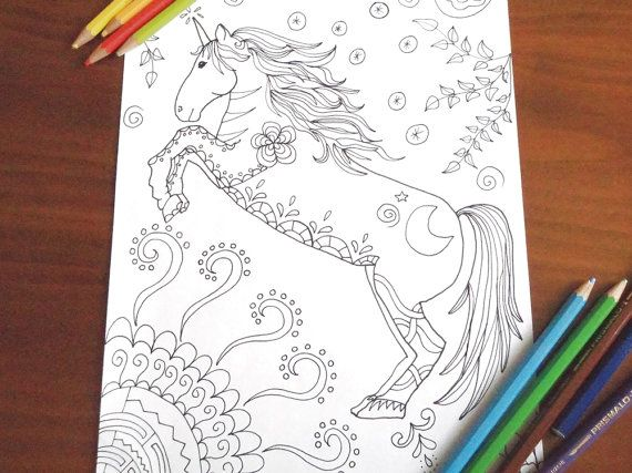 unicorn adult kids coloring page horse единорог download colouring book 일각수 fantasy whimsical yksisarvinen printable digital lasoffittadiste