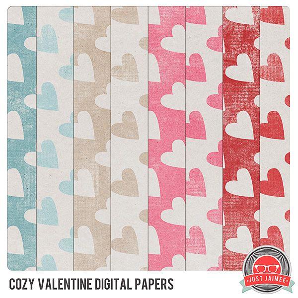 Cozy Valentine paper pack freebie from Just Jaimee