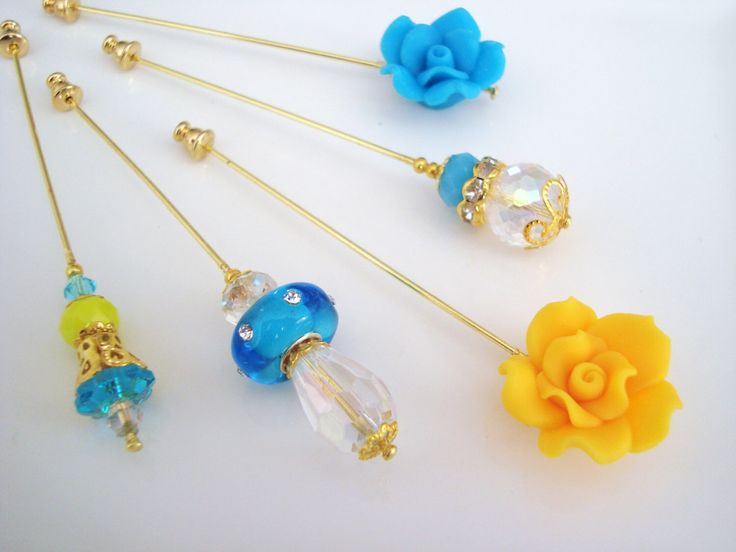 Sunshine Hijab Pins Set- Stick Pins / Hat Pins / Decorative Pins / Eid Gifts / Bridal Gifts / Flower Hijab Pins / Blue Yellow Pins / Crystal by SweetStoneDesigns on Etsy https://www.etsy.com/listing/204763760/sunshine-hijab-pins-set-stick-pins-hat