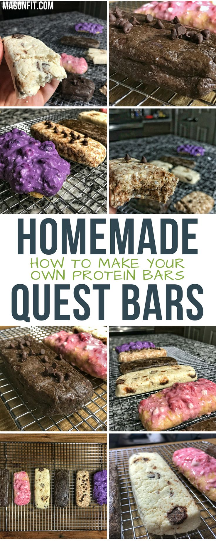 If you've ever wondered how to make your own protein bars that don't taste like rubber, you'll love these homemade quest protein bars. They're no bake and take less than 5 minutes to make. You can get creative with flavors, but you'll find double chocolate chip, chocolate chip cookie dough, blueberry and strawberry cheesecake, oatmeal chip, and honey graham here.