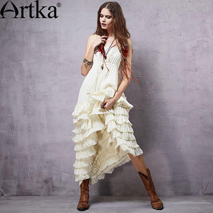 Goods.Site - Artka Women's 2015 Mexico Summer New Vintage Lace Decoration Patchwork Elegant Dress Sleeveless Cotton One-piece Dress LA14151C