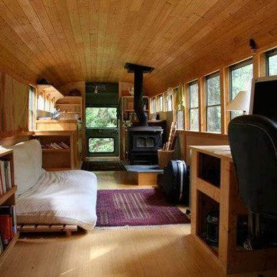home in a former school bus