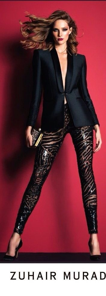 Black tuxedo  jacket with sparkly leggings and clutch purse for Zuhair Murad