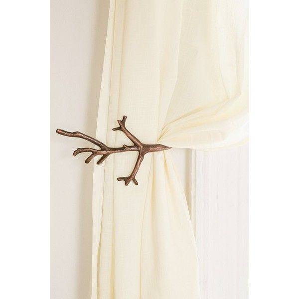 Branch Curtain Tie-Back ($16) ❤ liked on Polyvore featuring home, home decor, window treatments, curtain rods, copper, branch curtain tie back, branch curtain rod and branches home decor