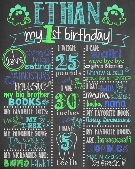 Boy First Birthday Chalkboard / Dinosaur First by LetsGetChalky