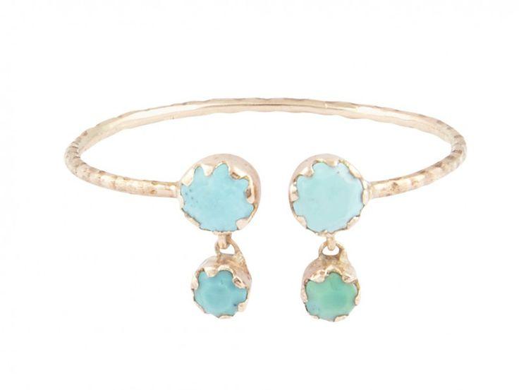 Pascale Monvoisin - Lara turquoise ring mounted on rose gold with turquoises