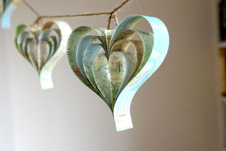 vintage pew decorations | Wedding decoration Map Hearts x 10, recycled map , pew ends,. $28.00 ...