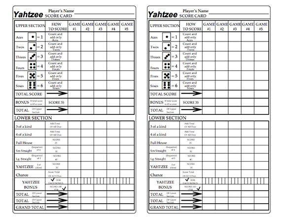 Here's a printable set of Yahtzee score cards with a row for recording Yahtzee bonus points.