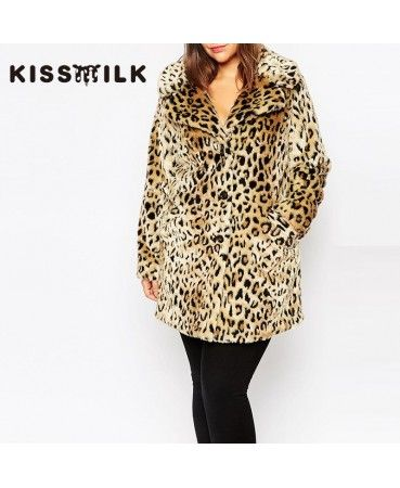 leopard faux fur coat A0811