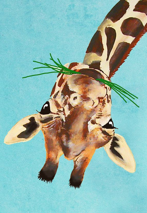 Animal painting portrait painting  Giclee Print Acrylic Painting Illustration Print wall art wall decor Wall Hanging: giraffe upside down