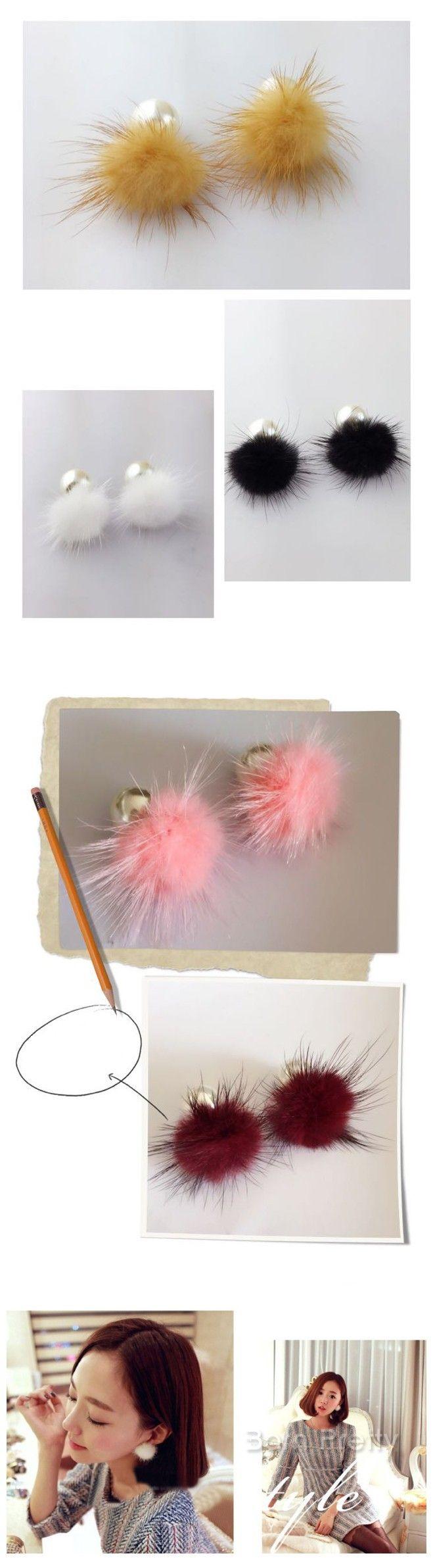 # 24850 JPY ¥258 1ペア 可愛いミンクボール&パールおしゃれピアスファッションアクセサリー&ジュエリー  - harunouta.com