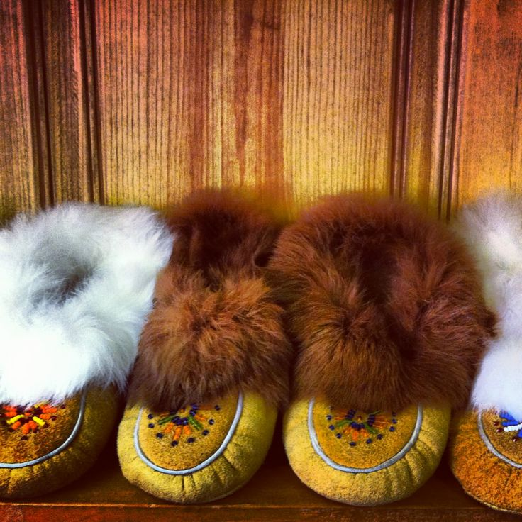 Hand-crafted moccasins at the Whetung Ojibwa Centre, Ontario @That's Peterborough & the Kawarthas Tourism
