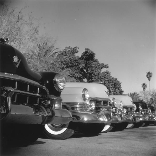 Cadillac Cars (© Slim Aarons/Getty Images) A row of parked Cadillacs with bumpers gleaming in the sun. 1952.
