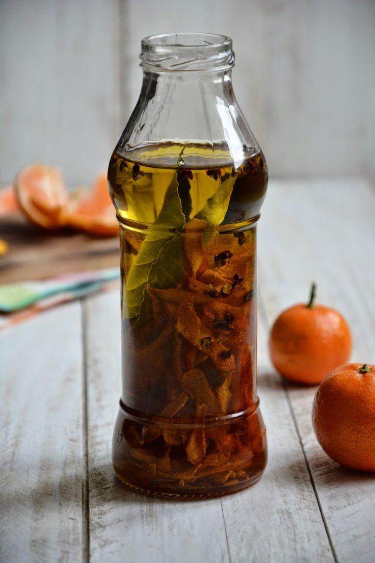 Huile d'olive parfumée, clémentine et poivre de Sichuan avec le pousson
