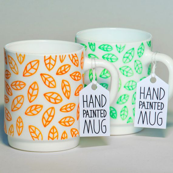 Leaves Mug  hand painted mug by Tim Easley by timeasley on Etsy,