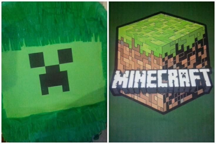 minecraft pinata. A creeper pinata for a kids birthday party. Available from Lollipop Personalised Party Supplies. Sydney Australia