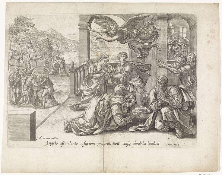 Anonymous | Vertrek van de engel Rafaël, Anonymous, Claes Jansz. Visscher (II), 1585 | De engel Rafaël maakt zich bekend aan Tobit, Anna, Tobias en Sara. Zij knielen op de grond. Tobit is teruggekeerd naar huis en wordt links ontvangen door zijn ouders Tobit en Anna. Nog verder op de achtergrond de ontvangst van Tobias' vrouw Sara. Rechts in het huis de genezing van Tobit.  Onder de voorstelling een verwijzing in het Latijn naar de Bijbeltekst in Tobit 12:4.