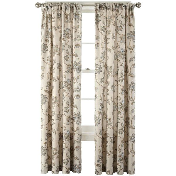 JCPenney Home™ Bedford Rod-Pocket/Back-Tab Curtain Panel ($32) ❤ liked on Polyvore featuring home, home decor, window treatments, curtains, tab curtains, rod pocket drapery panels, rod pocket curtains, pole top curtains and rod pocket curtain panels