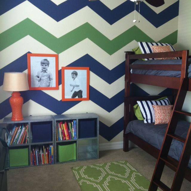 love the chevron wall, want to do it in owen's room in gray and orange