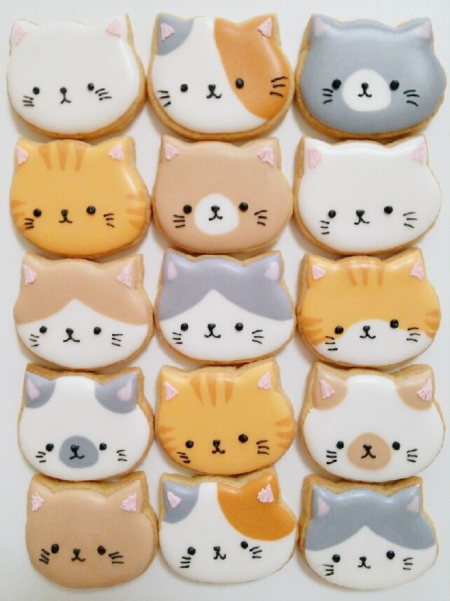 Kitty cookies! - I love how the faces aren't exactly in the center, so it looks like they're all looking to the side. Makes them even more adorable.