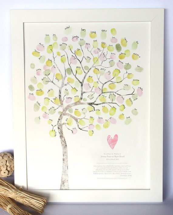 LARGE A3 Wedding guest book alternative, fingerprint tree, diy room decor, custom wedding details, A4 print