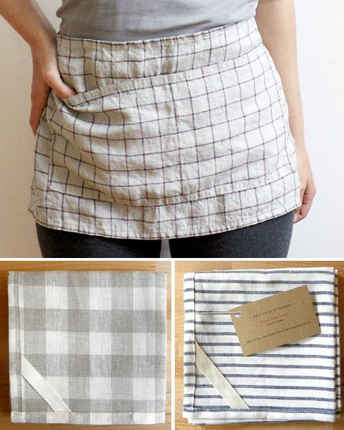 I could diy simple aprons from two dish towels and ribbons for cleaning, cooking, and crafting then use them to clean up and throw them into the wash.