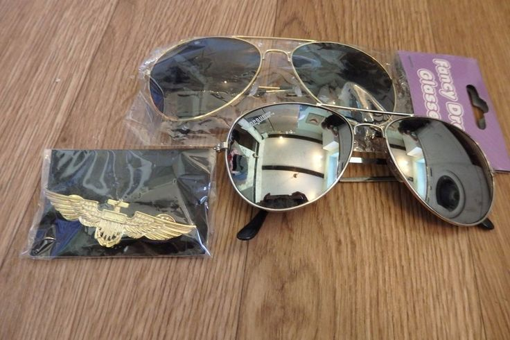 NEW 3 piece TOP GUN PILOT Fancy dress costume accessories. #Unbranded