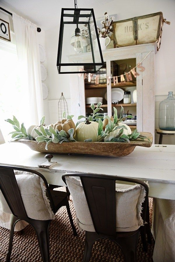Simple Dough Bowl Fall Centerpiece Dining Room Table