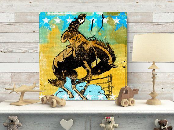 Cowboy Theme Nursery Decor Canvas Art Cowboy art Boy's Room Decor by TheDecoriumStudio #affiliate