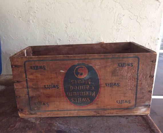 Vintage Swift's Premium Canned Meat Wood Crate