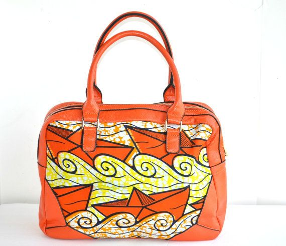 Orange Tote Bag, Large African Ankara Fabric Tote Bag With Leather Straps,  African Print Fabric,Tote, Women Handmade  Tote, Gift For Her