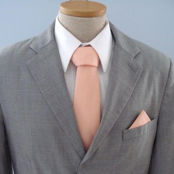 Mens Tie Solid Peach Ice Peach Necktie Matches Bhldn