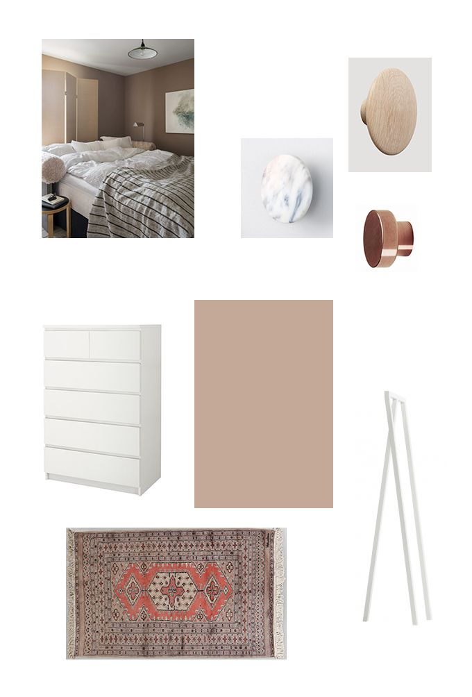 Walk In Closet Mood Board, Interior Design, Muted Powdery Pink, Farrow U0026  Ball Dead Salmon, Hay Loop Stand, Ikea Malm, Vintage Carpet, Bu0026B Sweden  Knob, ...