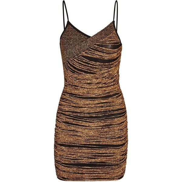 Balmain Bronze Textured-knit Mini Dress - Size 6 ($1,430) ❤ liked on Polyvore featuring dresses, short brown dress, brown mini dress, mini dress, balmain dress and exposed zipper dress