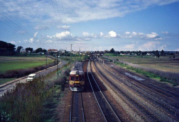 Two-car diesel railcar set 665+765 approach Maitland, NSW 1984.