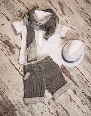 Shirt linen pants, linen scarf linen & hat #boysfashion #chicbabies #kidswear