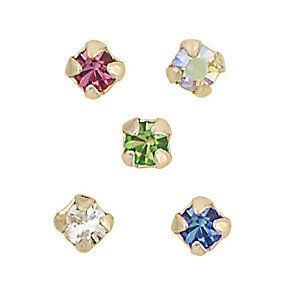 9ct Yellow Gold Box Set Of Five Mixed Crystal Nose Studs - Product number 3813169