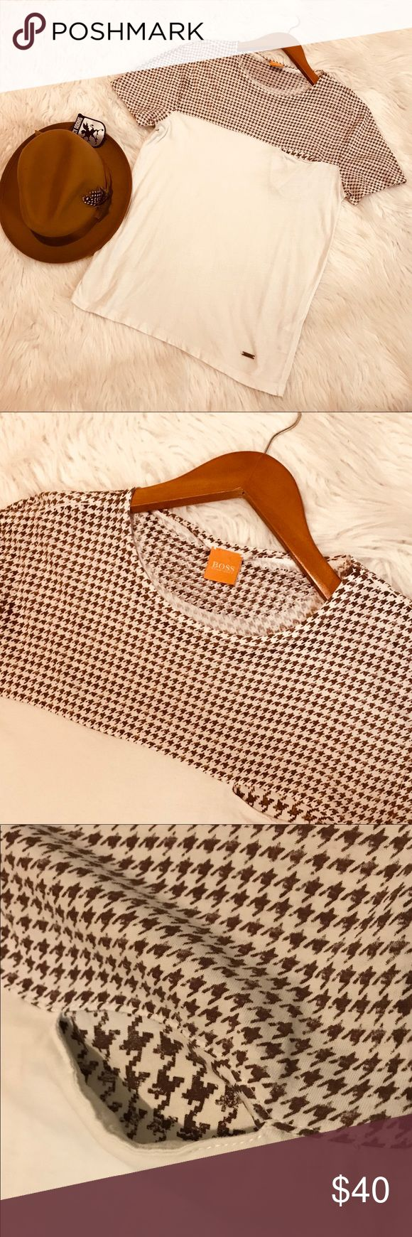 Men's Hugo Boss Tee Boss Hugo Boss Orange line. White with houndstooth brown print on top and an open chest pocket. Slim fit. EUC. Hugo Boss Shirts Tees - Short Sleeve