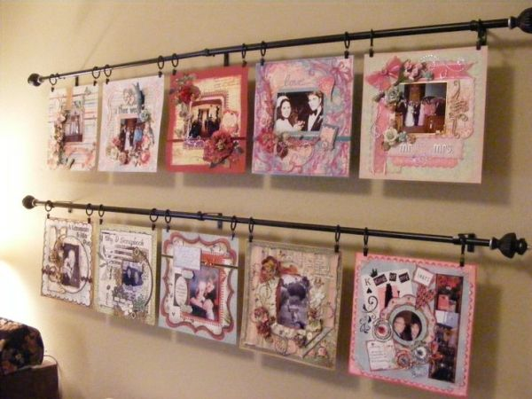 LO Display Rods - Scrapbook.com - Create display rods using curtain rods to hang up photos/ideas/layouts or use in place of a cork board (foam or cardboard backing) board#scrapbooking #crafting #diy by Aniky