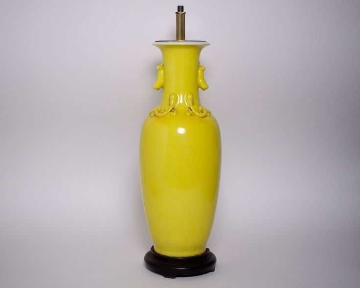 Antique Chinese yellow glazed porcelain lamp